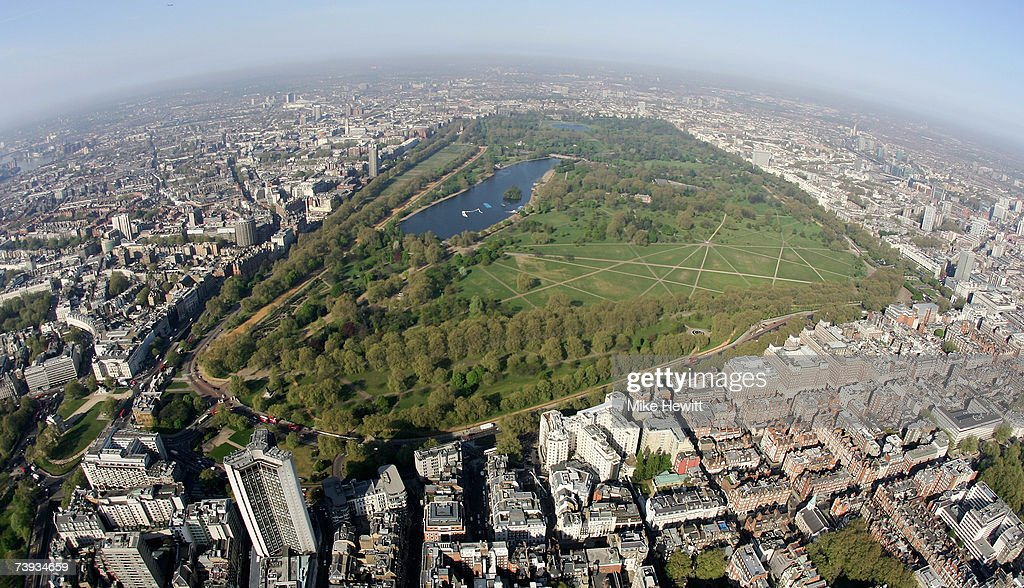 An aerial view of Hyde Park in the centre of London, England.