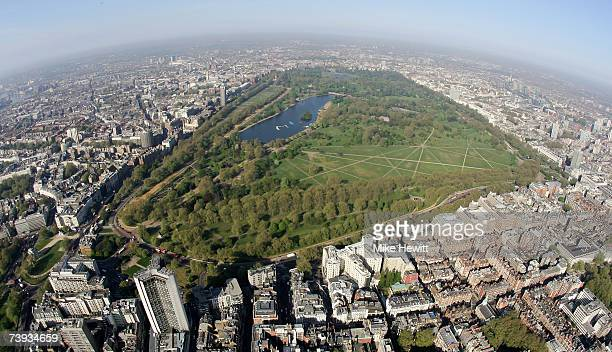 An aerial view of Hyde Park in the centre of London England