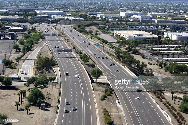 An aerial view of Interstate 10 as seen from a window of a passenger plane taking off from Phoenix Sky Harbor International Airport in Phoenix Arizona