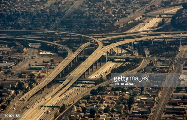An aerial view of Interstate Highway 405 in Los Angeles is seen on June 12 2013 AFP PHOTO/JOE KLAMAR