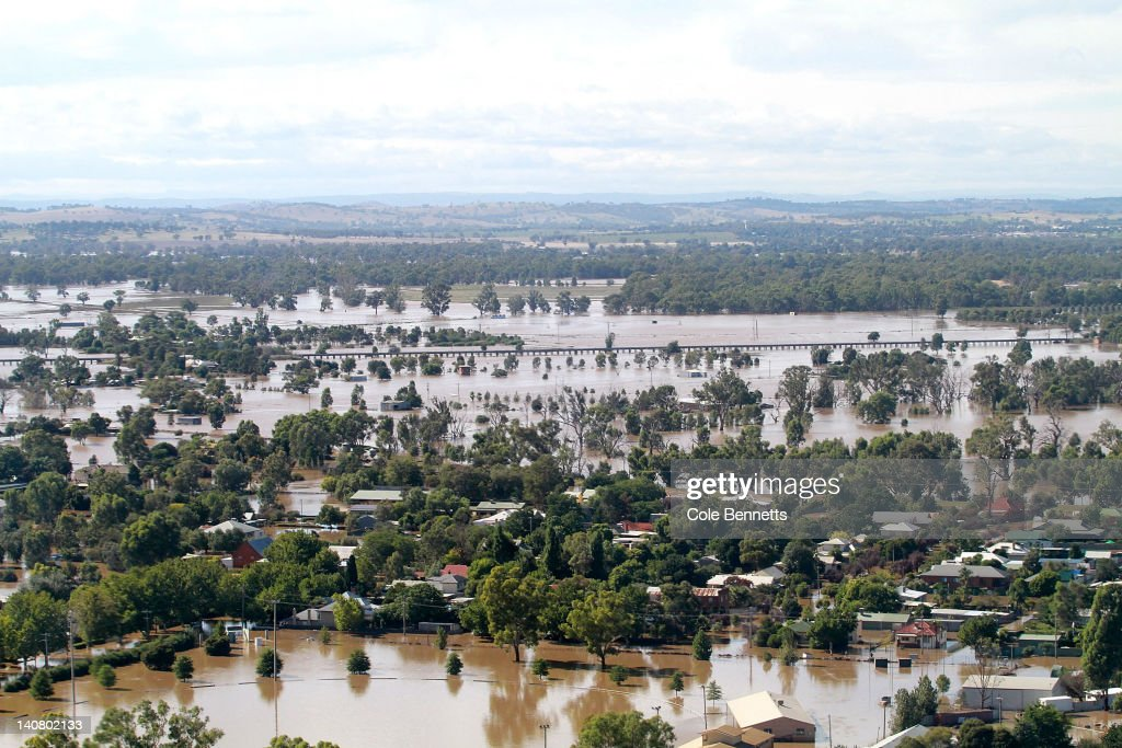 An aerial view of inundated houses on March 7, 2012 in Wagga Wagga, Australia. 9000 evacuated residents are waiting for authorities to survey the city's levee to determine if it is safe to return home, after flood waters peaked at 10.6 metres - less than the 10.9 metre peak predicted. Residents on Monday were instructed to evacuate and the town was declared a disaster zone with authorities predicting floodwaters to reach a level that would likely break the levee, flood the cities central district, and cause the worst flooding in decades.