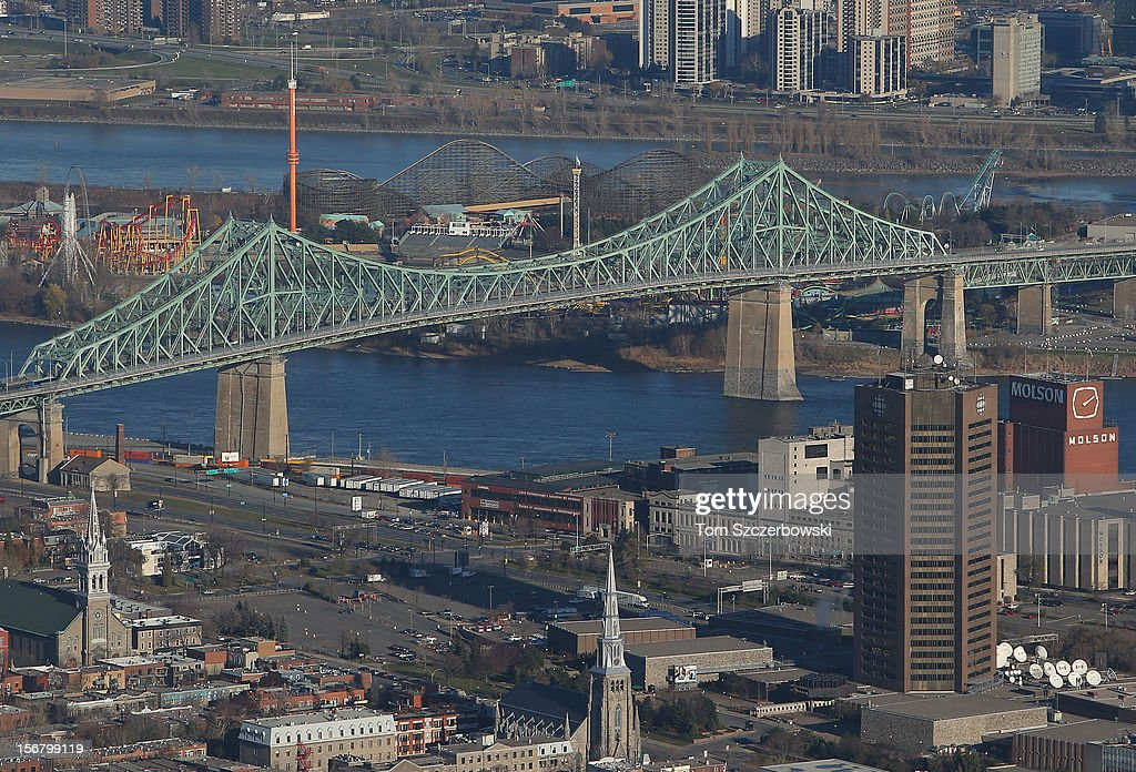 An aerial view of Jacques Cartier Bridge is seen from above on November 18, 2012 in Montreal, Quebec.