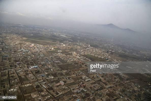 An aerial view of Kabul near Hamid Karzai International Airport on February 22 2015 in Kandahar Afghanistan
