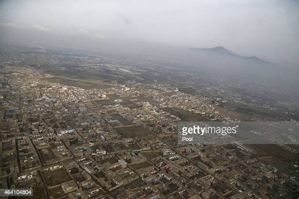 An aerial view of Kabul near Hamid Karzai International Airport on February 22 2015 in Kandahar Afghanistan