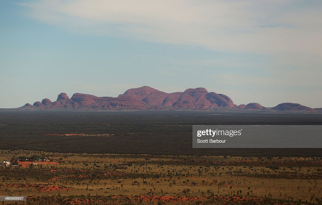 An aerial view of Kata Tjuta, also known as Mount Olga on April 21, 2014 in Ayers Rock, Australia. The Duke and Duchess of Cambridge are on a three-week tour of Australia and New Zealand, the first official trip overseas with their son, Prince George of Cambridge.