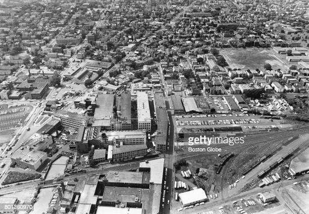 An aerial view of Kendall Square in Cambridge Mass Aug 1964