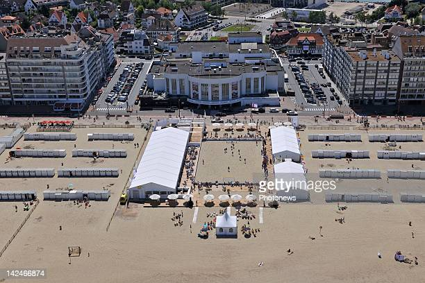 An aerial view of Knokke beach and the Belgian Coast on March 32012 in KnokkeBelgium