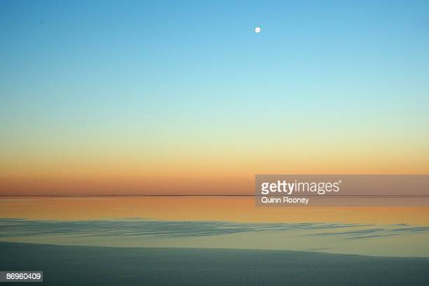 An aerial view of Lake Eyre at sunset during the Great Australian Cattle Drive preview on May 7 2009 in Oodnadatta Australia The Great Australian...