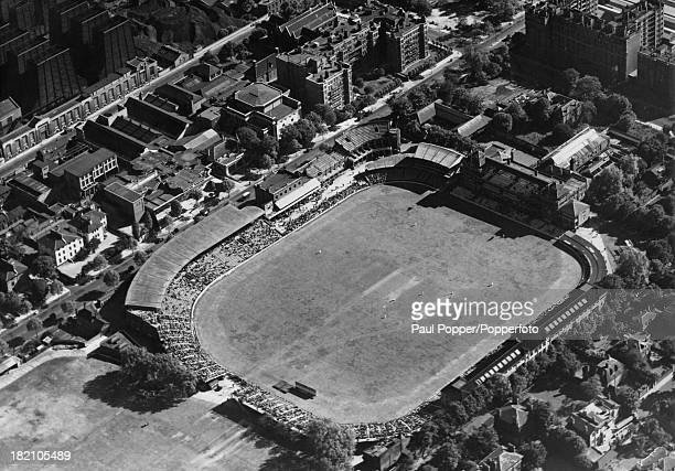 An aerial view of Lord's Cricket Ground in northwest London October 1953