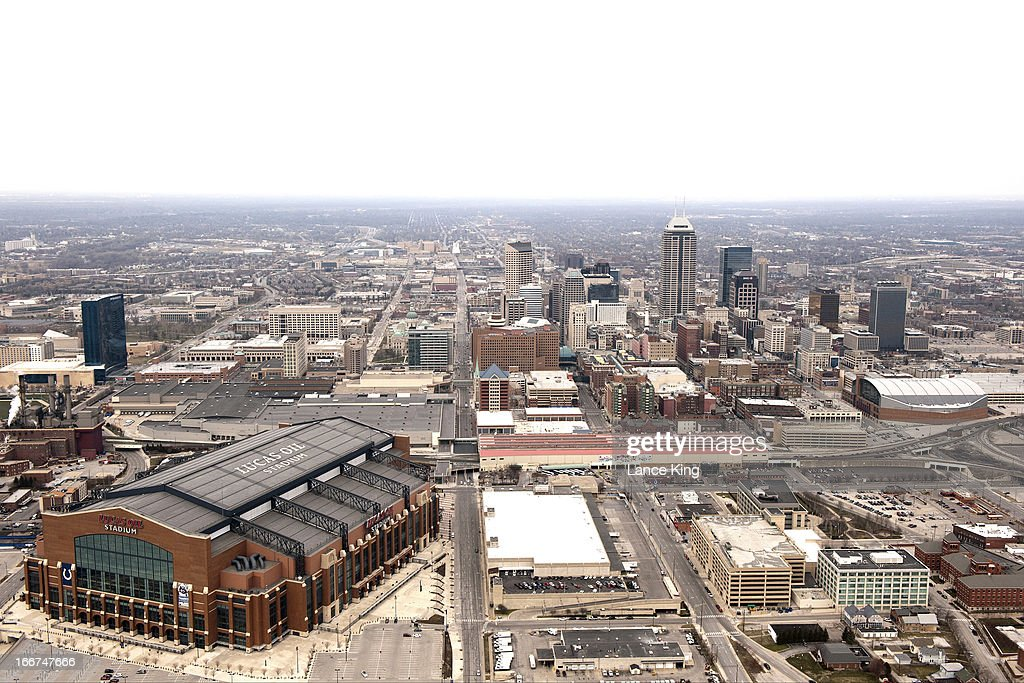 An aerial view of Lucas Oil Stadium and the downtown area during the Midwest Regional round of the 2013 NCAA Men's Basketball Tournament on March 30, 2013 in Indianapolis, Indiana.