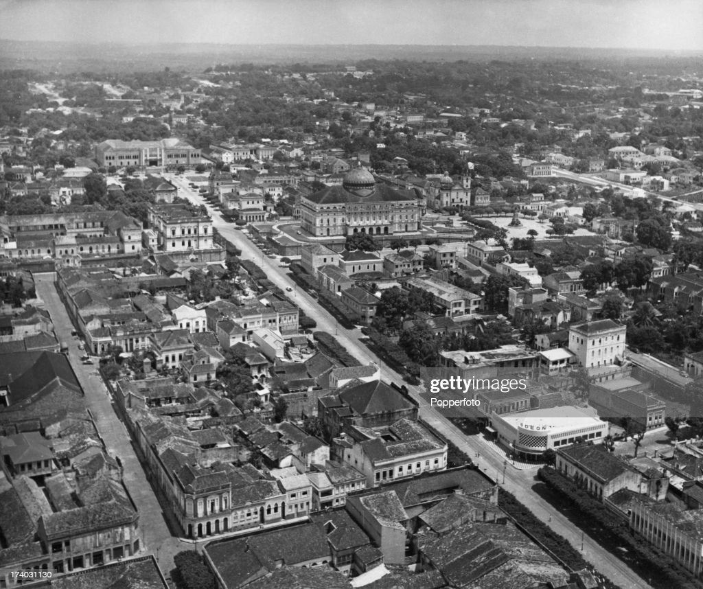 An aerial view of Manaus, Brazil, circa 1955. The Teatro Amazonas (Amazon Theatre) opera house can be seen just above the centre of the picture.