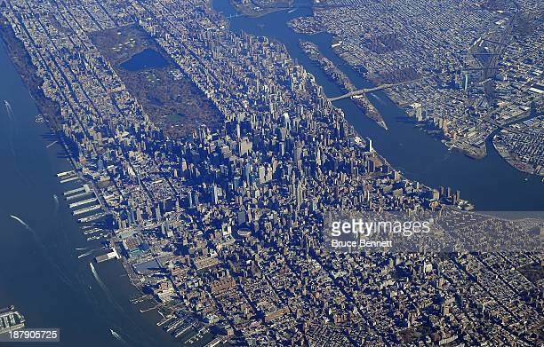 An aerial view of Manhattan including Central Park photographed on November 13 2013 in New York City