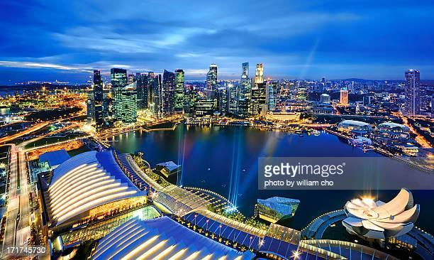 An aerial view of Marina Bay Singapore