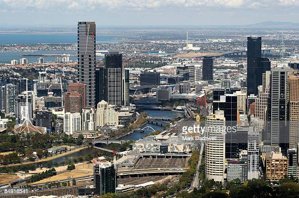 An aerial view of Melbourne CBD is seen on February 12 2009 in Melbourne Australia
