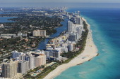 An aerial view of Miami Beach and South Beach from the MetLife blimp as the third round of the World Golf ChampionshipsCadillac Championship is held...