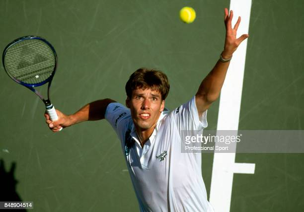 An aerial view of Michael Stich of Germany in action during a men's singles match at the US Open Tennis Championships at Flushing Meadow in New York...
