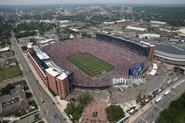 An aerial view of Michigan Stadium during the Guinness International Champions Cup match between Real Madrid and Manchester United at Michigan...