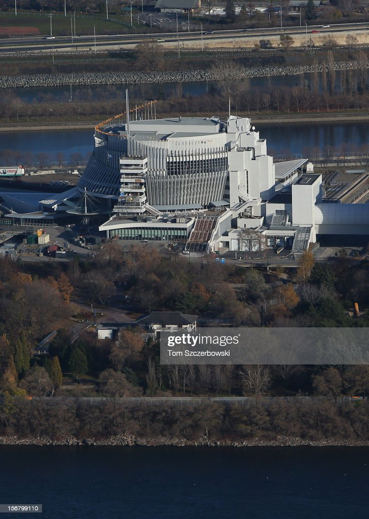 An aerial view of Montreal Casino is seen from above on November 18, 2012 in Montreal, Quebec.