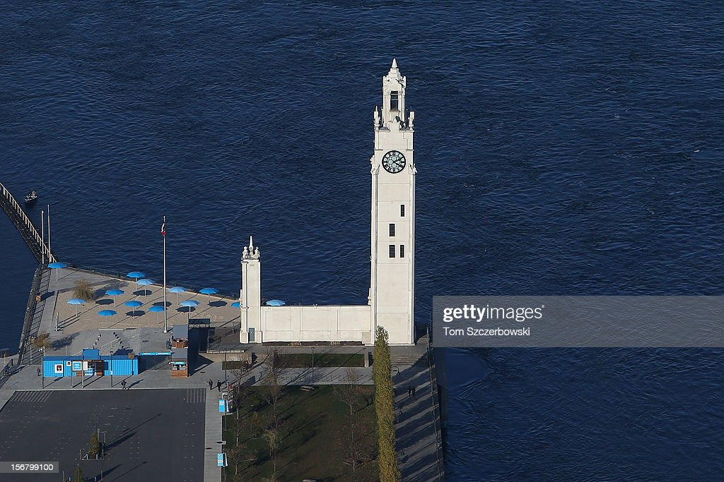 An aerial view of Montreal Clock Tower in the Old Port of Montreal is seen from above on November 18, 2012 in Montreal, Quebec.
