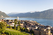 An aerial view of Montreux by lake Geneva in Canton Vaud, Switzerland. The mountains at the back are the alps