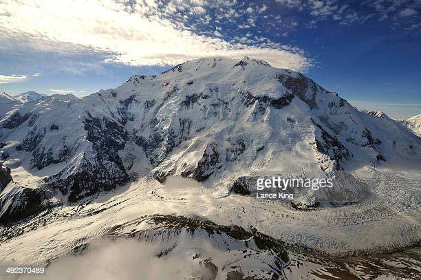 An aerial view of Mt McKinley and the Wickersham Wall on May 17 2014 in Denali National Park Alaska According to the National Park service the summit...