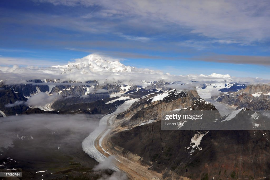 An aerial view of Mt. McKinley (top) on August 17, 2013 in Denali National Park, Alaska. Mt. McKinley is the highest mountain peak in North America with a summit elevation of 20,320 feet above sea level.