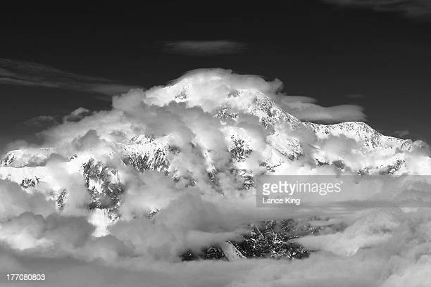 An aerial view of Mt McKinley on August 17 2013 in Denali National Park Alaska Mt McKinley is the highest mountain peak in North America with a...