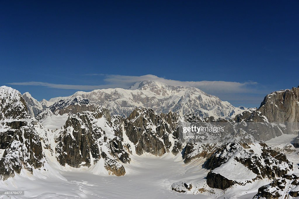 An aerial view of Mt. McKinley (top center) on May 17, 2014 in Denali National Park, Alaska. According to the National Park service, the summit elevation of Mt. McKinley is 20,320 feet above sea level, making it the highest mountain peak in North America.