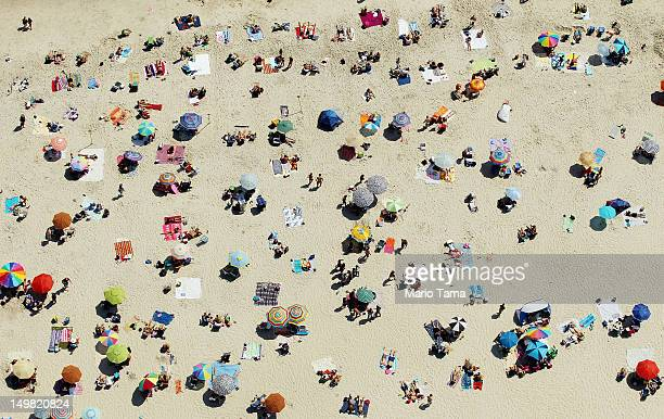 An aerial view of New Yorkers cooling off at Jones Beach on August 4 2012 in Wantagh New York The past year through June 2012 in the continental...