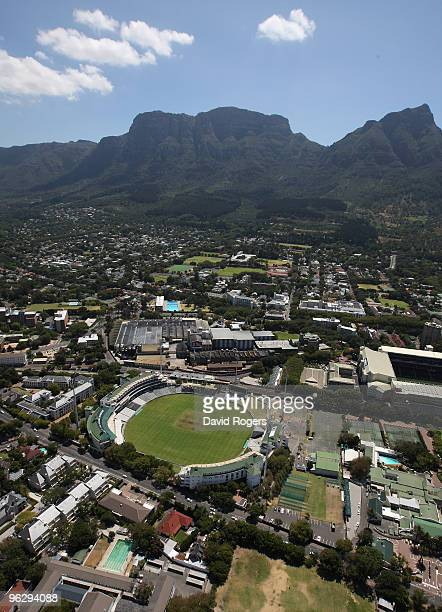 An aerial view of Newlands Cricket Ground on the January 26 2010 in Cape Town South Africa