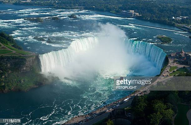 An aerial view of Niagara Falls on a sunny day