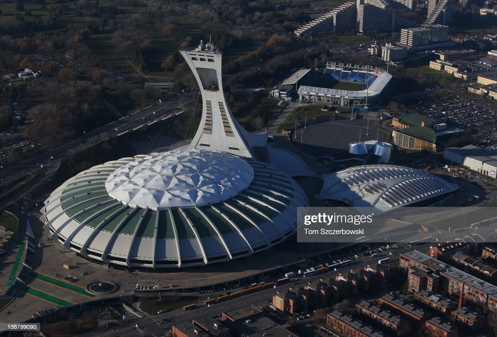 An aerial view of Olympic Stadium and the Biodome and Saputo Stadium and Olympic Park are seen from above on November 18, 2012 in Montreal, Quebec.