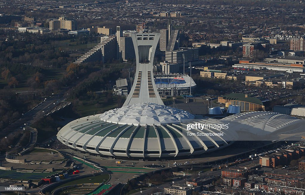 An aerial view of Olympic Stadium and the Biodome and Saputo Stadium and Olympic Park and Olympic Village are seen from above on November 18, 2012 in Montreal, Quebec.