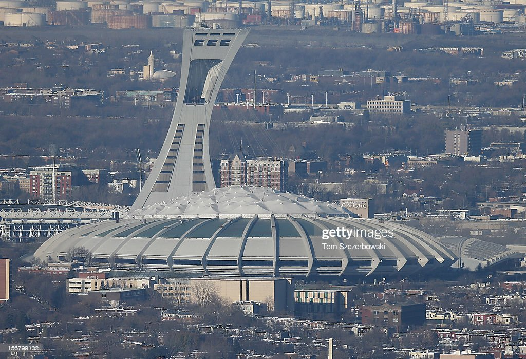 An aerial view of Olympic Stadium is seen from above on November 18, 2012 in Montreal, Quebec.
