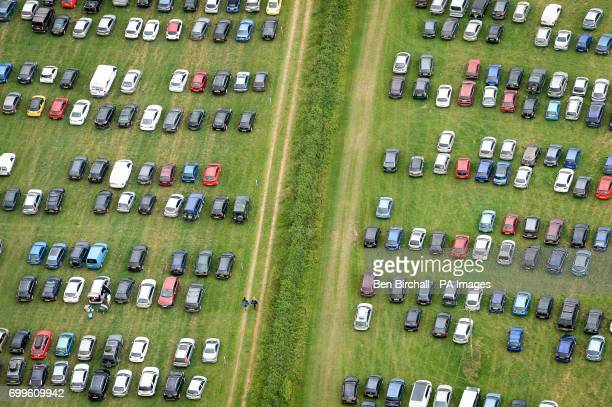 An aerial view of one of the car parks during the Glastonbury Festival at Worthy Farm in Pilton Somerset