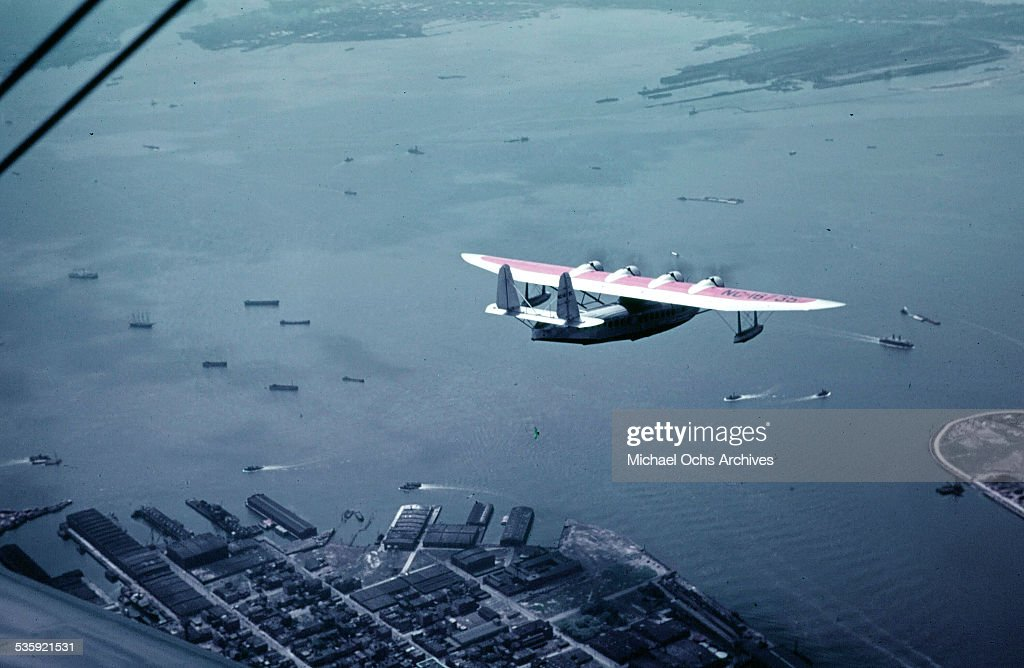 An aerial view of Pan Am Bermuda Clipper, a Boeing 314 Flying boat which flew between Baltimore Maryland and Bermuda. Later renamed, Hong Kong Clipper and sank by the Japanese in Hong Kong harbor on December 8,1941.
