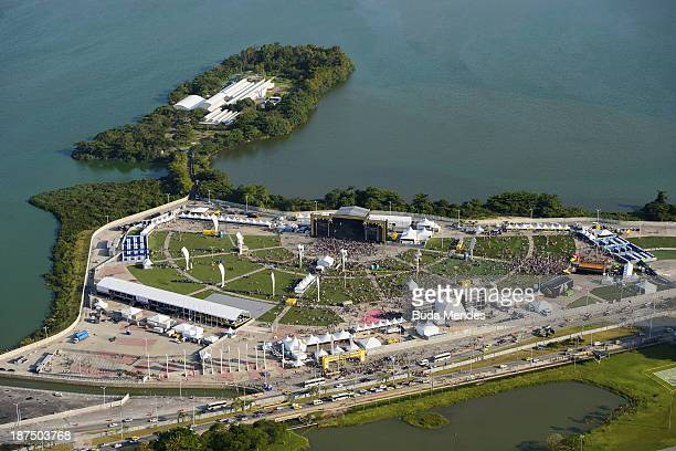 An aerial view of Parque dos Atletas on the 1000th day before the Rio 2016 Olympic Games on November 9 2013 in Rio de Janeiro Brazil Brazil is also...