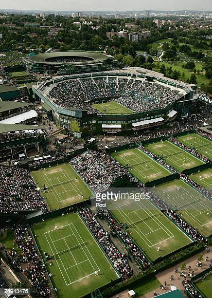 An aerial view of play taken from the BBC elevated camera position during day four of the Wimbledon Lawn Tennis Championships at the All England Lawn...