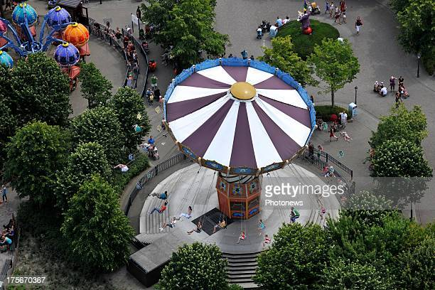 An aerial view of Plopsaland Amusement Park in De Panne taken from a helicopter on July 17 2013 in Belgium