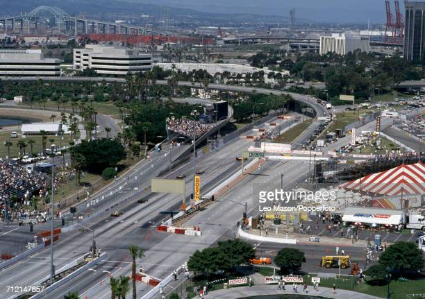 An aerial view of racing action during the IndyCar Streets of Long Beach Grand Prix in Long Beach United States on 18th April 1993 The race would be...