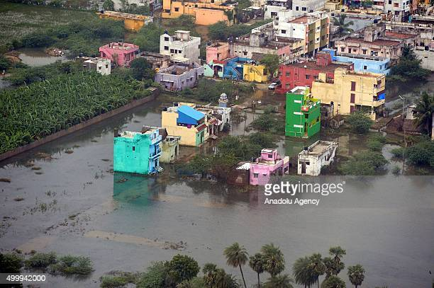 An aerial view of rain hit area in Chennai Tamil Nadu on December 03 in this handout picture provide by Press Information Bureau