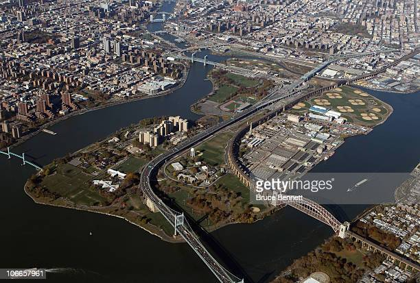An aerial view of Randalls Island photographed on November 9 2010 in New York City