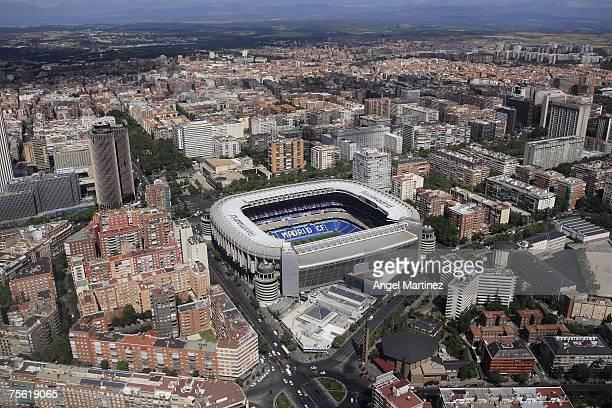 An aerial view of Real Madrid's Santiago Bernabeu stadium on July 23 2007 in Madrid Spain