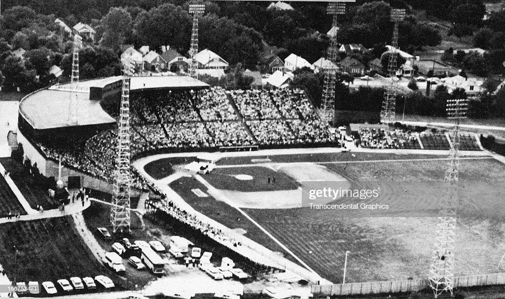 An aerial view of Rosenblatt Stadium, home of the College World Series was taken circa 1960 above Omaha, Nebraska.