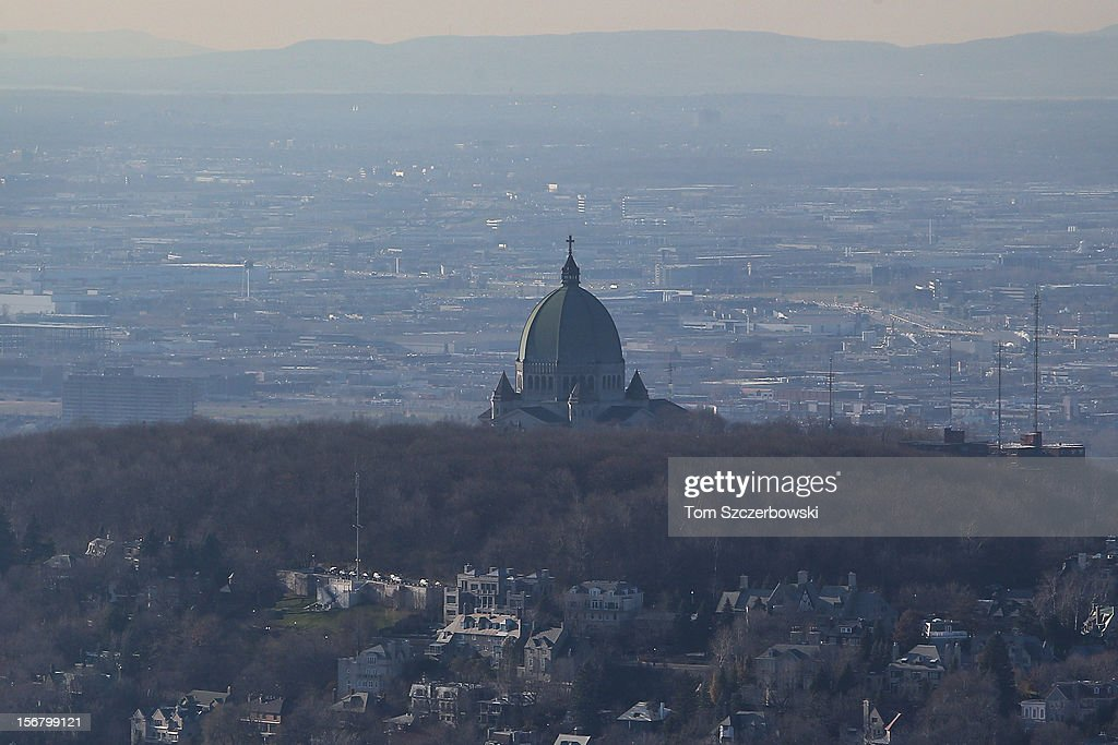 An aerial view of Saint Joseph's Oratory of Mount-Royal is seen from above on November 18, 2012 in Montreal, Quebec.