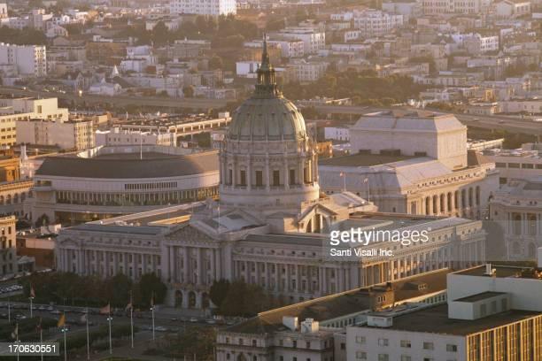 An aerial view of San Francisco City Hall circa 1980