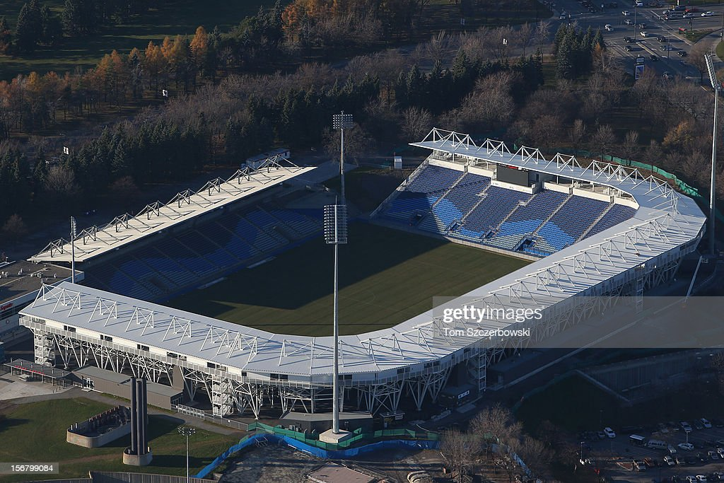 An aerial view of Saputo Stadium is seen from above on November 18, 2012 in Montreal, Quebec.