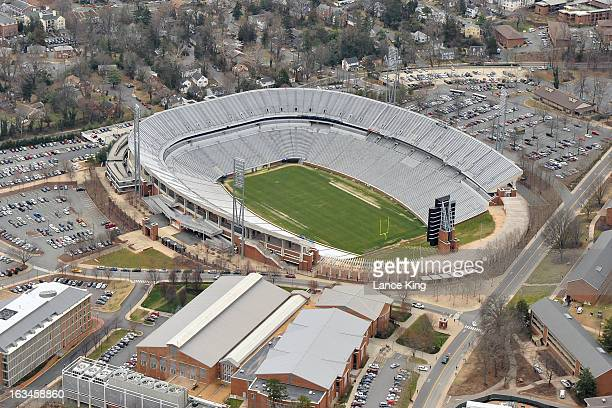 An aerial view of Scott Stadium on campus at the University of Virginia on March 1 2013 in Charlottesville Virginia