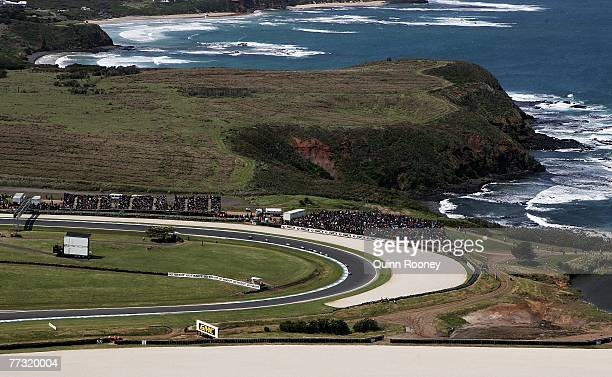 An aerial view of siberia corner at the Phillip Island race track during the 125cc race of the 2007 Australian Motorcycle Grand Prix held at Phillip...