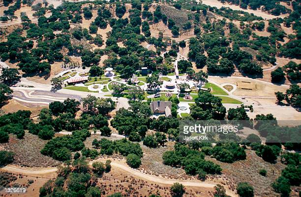 An aerial view of singer Michael Jackson''s Neverland Valley Ranch June 25 2001 in Santa Ynez CA